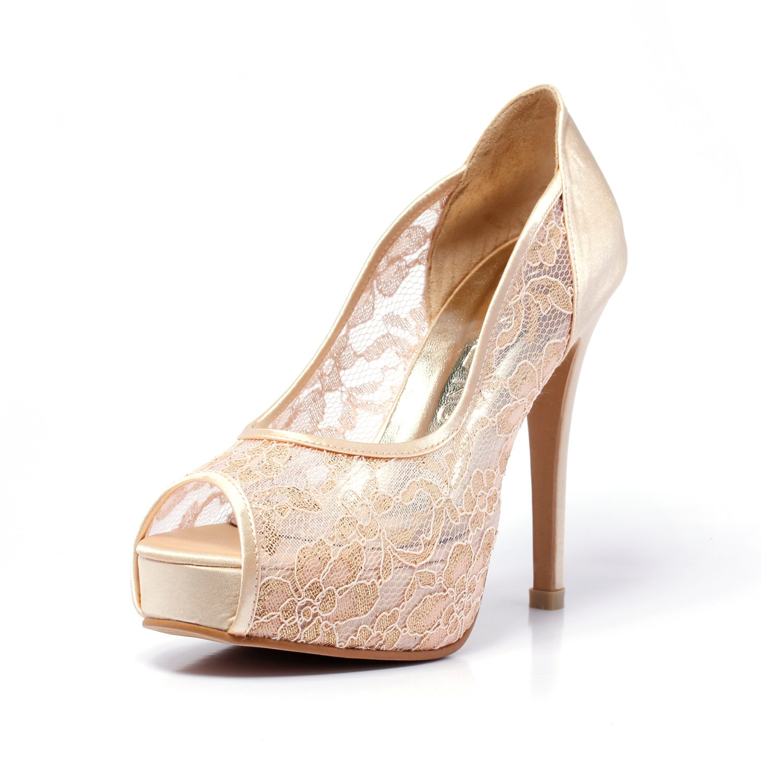 Trailblazer champagne gold lace wedding shoe peep lace satin zoom junglespirit Gallery