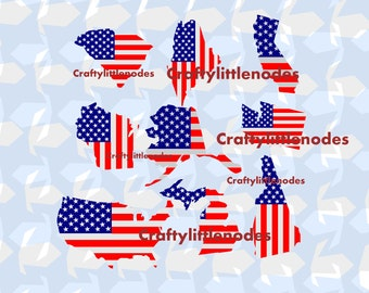 51 State Shaped American Flags Independence Day Memorial Day Patriotic SVG STUDIO Ai EPS Scalable Vector Instant Download Cutting File