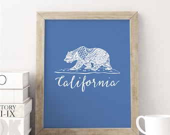 California Bear Art Print / California Poster / 5x7, 8x8, 8x10, 11x14 Wall Art