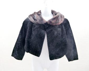 Vintage 50s Fur Jacket Size M L Black Velvet Mink Bolero Faux Persian Lamb 60s
