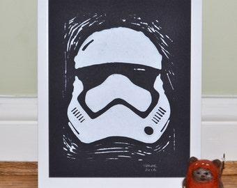 Star Wars: The Force Awakens - First Order Stormtrooper - Framed Lino Print