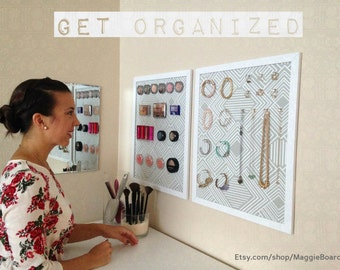 Wall Jewelry Organizer / Magnetic Makeup Board / Fabric Magnetic Board