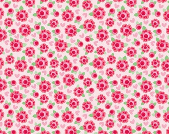 Lovey Roses Red Half Yard Cut - Riley Blake Designs-Cotton Fabric-Red Fabric