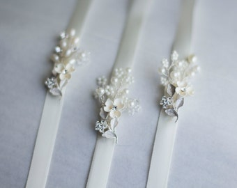Bridesmaid gift. Wedding ribbon bracelet. Bridesmaid bracelet set. Bridal Jewelry. Wedding Accessories. Bridal Party.