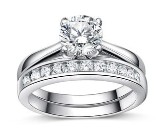 Sterling Silver Simulated Diamond Eternity Engagement Wedding Rings Set With Gift Box
