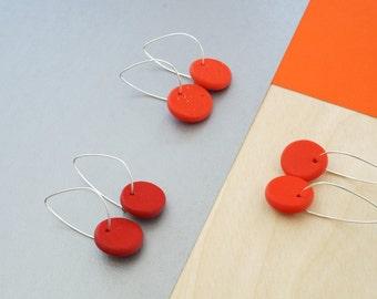 Red earrings, hoops,hoop earrings,dangle earrings,polymer clay jewelry,minimal earrings,thin sterling silver hoop earrings,everyday earrings