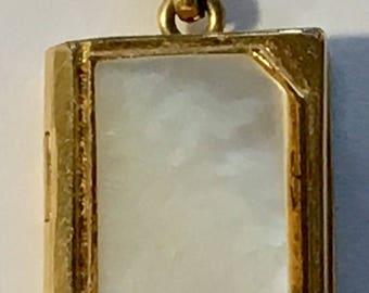 Sale Vintage 12K Gold Filled Book Charm Locket Pendant MOP