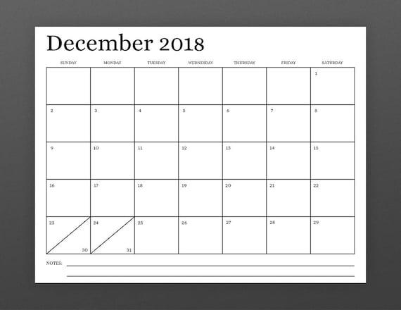 8.5 x 11 Zoll 2018 Kalendervorlage SOFORTIGER DOWNLOAD