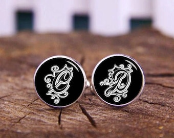 Custom Personalized Monogram Cuff Links, Monogrammed Cufflinks, Initials Cufflinks, Custom Wedding Cufflinks, Groom Cufflinks & Tie Clip Set
