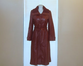 Vintage Long Burgundy Leather Spy Trench Coat~M~