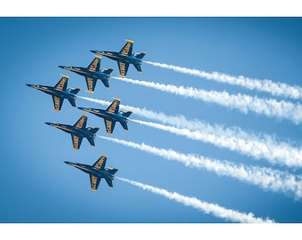Blue Angels F-18 Formation - Military Jet Photo - Plane Poster Print - Wall Art