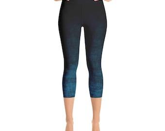 Capris Leggings Ombre High Waist Blue and Black Cropped Yoga Pants, Women's Grunge Leggings