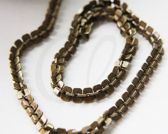 One Foot Oxidized Brass Hand Linked Chain- Rectangle 6mm (YIPF6-02)