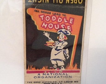 ON SALE Toddle House Matchbook Cover Restaurant