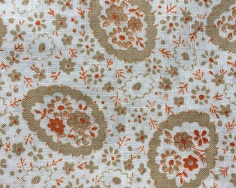 "Vintage Cotton Lawn Fabric- Mill Fabrics Corporation Mark // 132x45"" > original store tag > Unused > taupe, ecru, burnt orange"