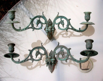 French antique Signed 18th century solid bronze Green patina piano candle holder mythology image legend bird phoenix Sphinx candelabras wall