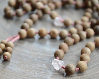 Knotted Mala Necklace Rose Quartz Wood Bead Prayer Beads Mantra Meditation 108 Japa Mala Yoga Jewelry. Tassel necklace.