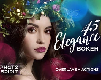 Elegance Bokeh Overlays Photoshop Actions — Package of Elegance Overlays in JPG with quick Actions, Photo Collection, Texture Pack Download