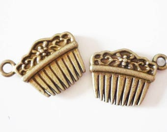 10 x charms small hair comb - silver metal