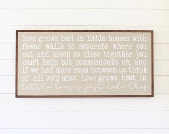 LOVE GROWS BEST - Painted wood sign - S,M,L Sizes available  | Wall decor (Nursery art, Modern Farmhouse, Fixer Upper)