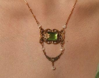 Emerald Princess Elegant Mucha Art Nouveau style Necklace and Earrings SET