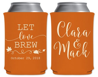 Fall Wedding Customized Can Holders Beverage Insulator Personalized Wedding Favors | Let Love Brew | Custom Beer Holders | READ DESCRIPTION