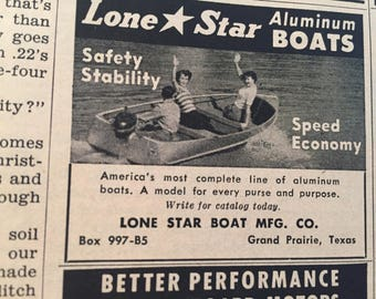 Vintage 1950 Lone Star Boat Ad Advertising Grand Prairie TX Texas Women