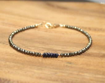 Blue Sapphire and Pyrite Bracelet, Blue Sapphire Jewelry, September Birthstone, Something Blue, Gemstone Bracelet