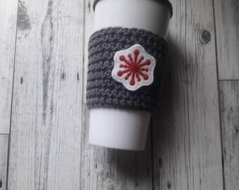 Stocking stuffer, gift under ten, snowflake coffee cup cozy, snowflake travel mug cozy, Christmas gift, holiday gift, to go mug cozy