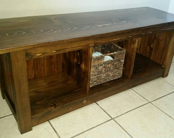 Entryway bench with cubby holes, Entryway bench with storage space, Rustic bench, rustic entryway bench, Three hole cubby bench