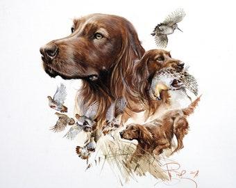 "Irish Setter print, 28-20"", Irish setter art, Irish setter, Irish setter gift, setter, irish setter, irish setter dog, irish setter poster"