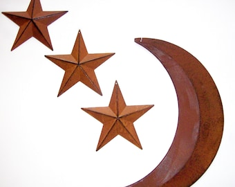 Set of 3 Rustic Stars And Moon ~ Rust & black barn stars Outhouse decor