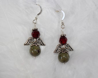 Dragon's Blood Jasper and Swarovski Crystal Angel Earrings