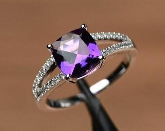 natural amethyst ring purple gemstone promise ring cushion cut February birthstone ring silver ring