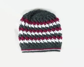 Multicolor Striped Crochet Beanie Hat  Womens knit hat, Fashion winter Hat, Gift For Her, Boho Tribal Gypsy