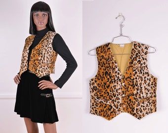 Vintage Leopard Print Corduroy Vest/ 70s/ Spotted/ Tan/ Black/ Animal print/ Size Small