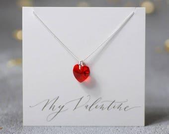 valentines heart necklace, swarovski crystal heart pendant, love necklace, red heart pendant, pink heart necklace, valentines gift for her
