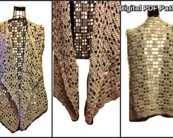 Crochet Asymmetric Vest Shrug Lightweight PDF Crochet Pattern Tutorial  Avant-Gard Unbalanced Design Is not a finished product.