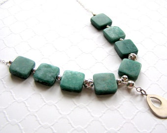 Russian Amazonite Necklace, Green Square Gemstones, Sterling Silver Teardrop, Cable Chain, Gemstone Fashion Necklace, One of a Kind Gift