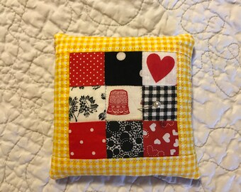 Pin cushion Pin keep red, black, white and yellow patchwork quilt block pincushion