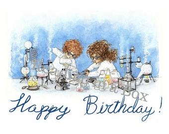 Happy Birthday Card Little Scientist - Original artist print - Reading in a Box - Digital Download