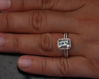 Aquamarine Halo Diamond Engagement Ring in 14k White Gold 8x6mm Emerald Cut Aquamarine Ring (Bridal Set Available)