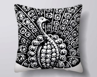 Peacock Feather Bird Black and white -Can BeCustomizeable Personlized   -Cushion Cover Case Or Stuffed With Insert