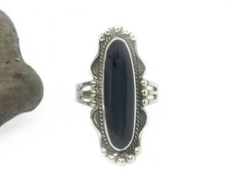 Black Onyx Ring~Silver Black Onyx Ring~Black Onyx Long Oval Ring~Large Black Onyx Statement Ring~Natural Black Onyx Ring~Black Onyx Jewelry