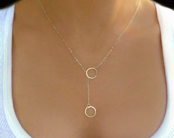 Infinity Lariat Necklace, Small Circle Lariat Sterling Silver, Double Circle Bridesmaid Jewelry Gift, Minimalist Everyday Necklace For Women
