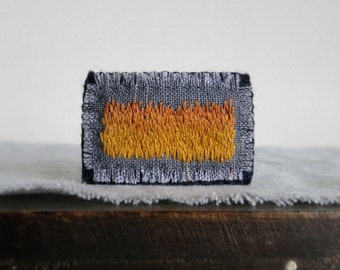 Modern Embroidered Brooch - Hand Embroidered Textile Art Jewelry