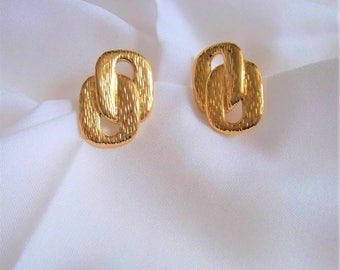 Beautiful Napier Goldtone Brush Textured Double Loop Post (Pierced) Earrings