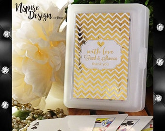 Personalized Metallic Foil Las Vegas Casino Playing Cards - Wedding (Set of 24) *Available in 40 Designs, 3 Foil Colors, and 4 Patterns*