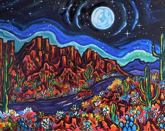 Arizona Moon* wall art,fine art print, Giclee print, impressionism, southwest landscapes, matted giclee print, scenic, colorful, road trip