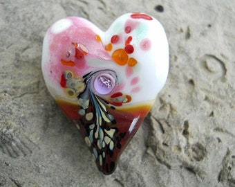Pink & white glass heart bead pendant necklace, love Lampwork focal bead, ready to wear jewelry, love totem necklace, SRAJD art glass